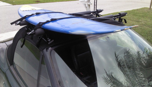 Gutterless Surfboard Roof Rack Installed